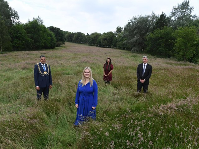 The former South Leeds Golf course. Pictured from left: Lord Mayor Coun Asghar Khan, Esther Wakeman CEO of Leeds Hospitals Charity, Coun Salma Arif and Leader of Leeds City Council, Coun James Lewis.