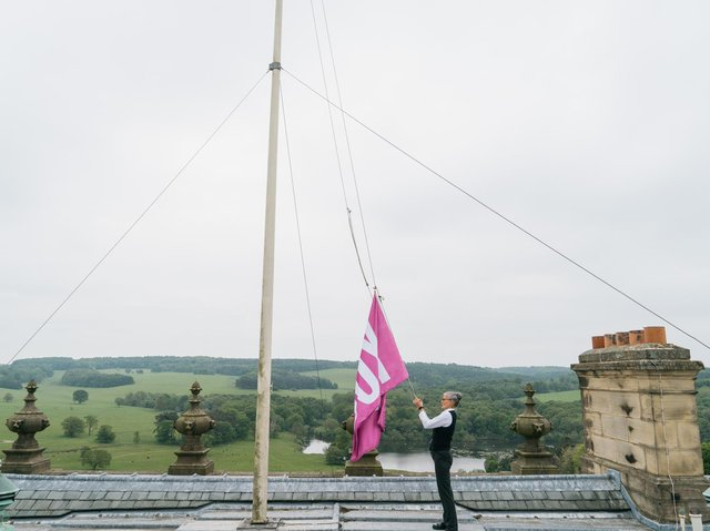 Flying the flag for well-being outside. The installations are put up at Harewood House.