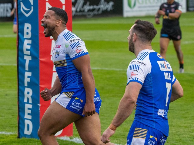 Kruise Leeming, left and Luke Gale are two of five Rhinos players on international duty. Picture by Bruce Rollinson.