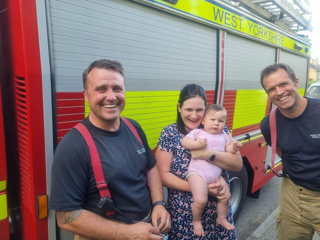 Here's Isobel with mum Emma, Crew Manager Hagger, and Firefighter Oates.