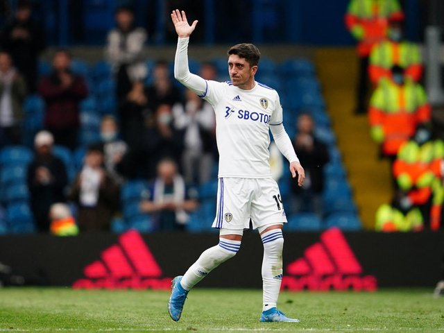 Pablo Hernandez waves to the Elland Road faithful as he leaves the pitch during his last game for the club. PIC: Getty