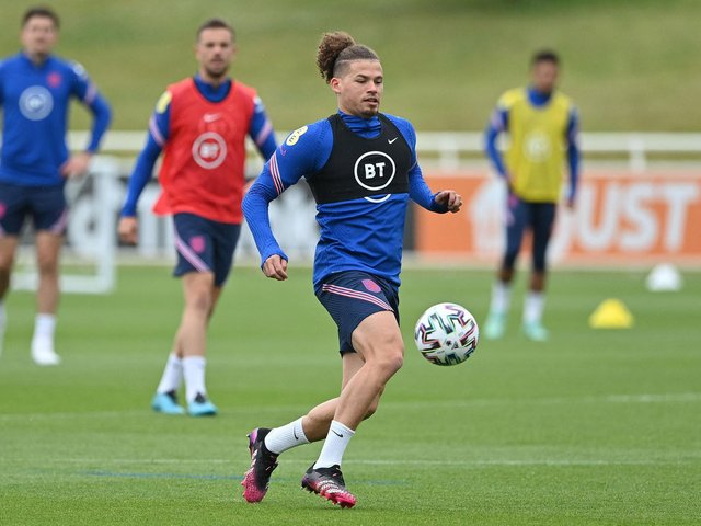 POPULAR: Leeds United midfielder Kalvin Phillips during an England training session at St George's Park on Friday. Photo by JUSTIN TALLIS/AFP via Getty Images.