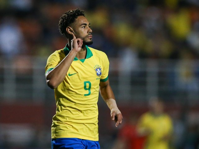 PROLIFIC: Hertha Berlin forward Matheus Cunha who has netted 15 goals in 16 games for Brazil's under-23s including a brace in a friendly against Chile in September 2019, above. Photo by Alexandre Schneider/Getty Images.