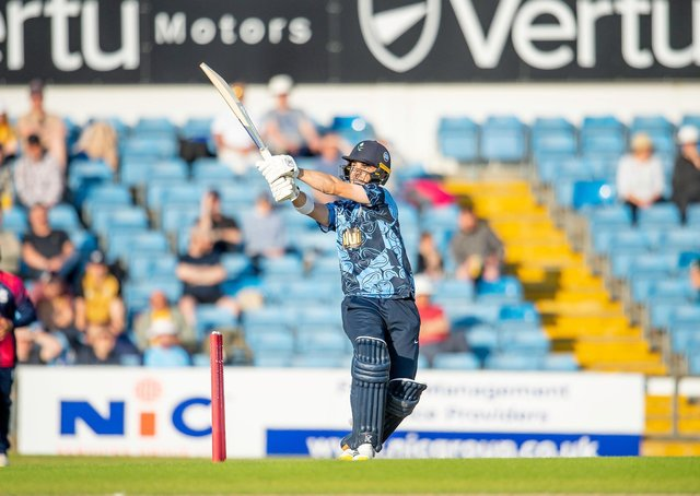 TOP MAN: Yorkshire's Jordan Thompson hits out against Northamptonshire Steelbacks at Headingley on Saturday. Picture by Allan McKenzie/SWpix.com