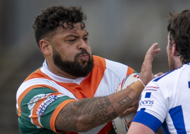 Hunslet's Jordan Andrade who scored two tries in the League One win over West Wales Raiders. Picture: Tony Johnson/JPIMedia.