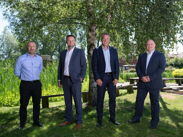 ( left to right) Christian Hall, Partner at Garbutt + Elliott, Rob Simpson, Managing Director G+E Wealth Management, David Booth, HKA Director and Russell Turner, Managing Partner at Garbutt + Elliott