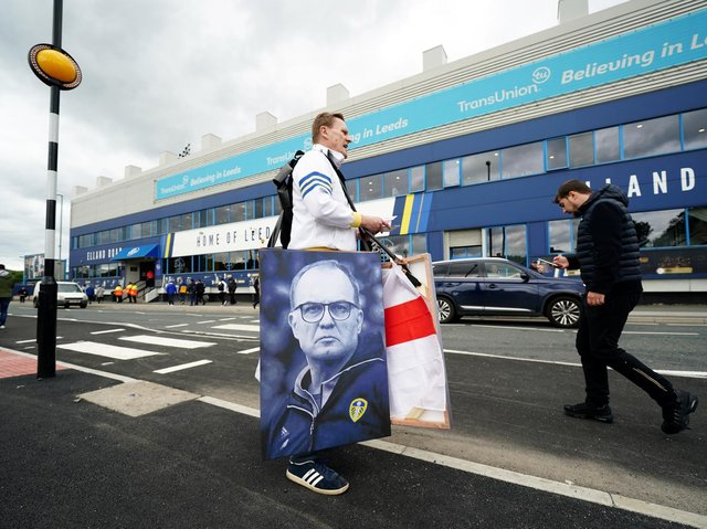 Leeds United fans outside Elland Road. Pic: Getty