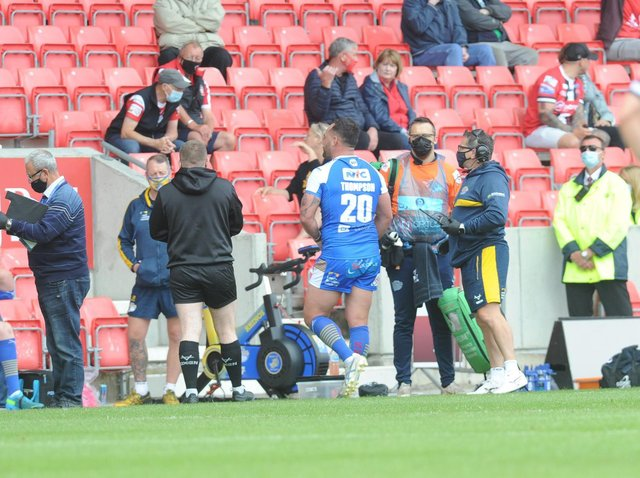 Rhinos' Bodene Thompson heads towards the changing rooms after being sent-off against Salford. Picture by Steve Riding.