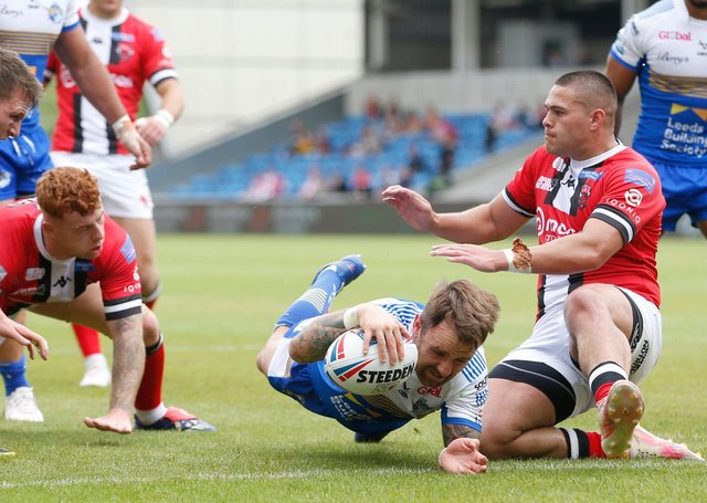 Richie Myler scores Leeds Rhinos' third try at Salford. Picture: Ed Sykes/SWpix.com.