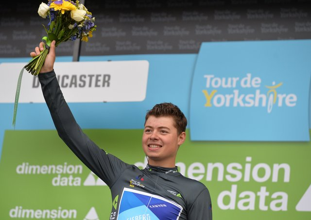 Harry Tanfield celebrates winning a stage of the Tour de Yorkshire into Doncaster in 2018 (Picture: Bruce Rollinson)
