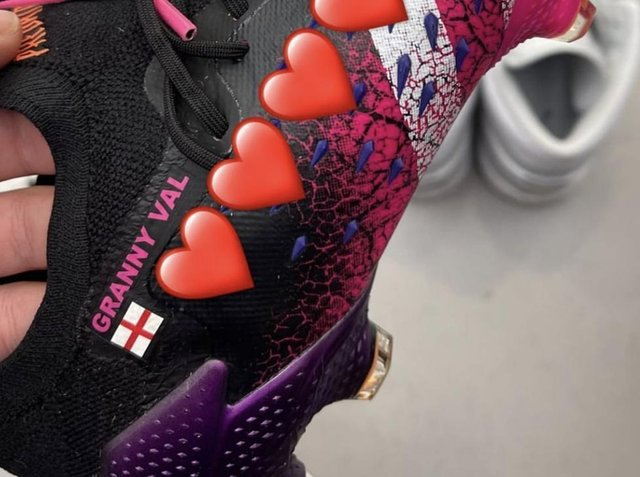Leeds United's Kalvin Phillips wore special boots in tribute to his late Granny Val whilst in action for England. Pic: Kalvin Phillips Instagram
