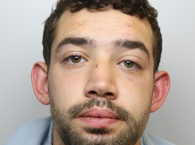 Cameron Cawley was jailed for 18 months for attacking his partner and spitting at a West Yorkshire Police officer.