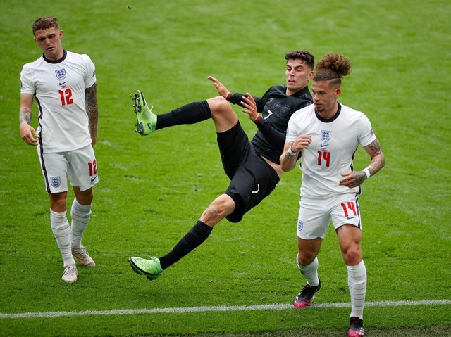 CRUNCH TIME - Kalvin Phillips of Leeds United twice left Chelsea and Germany star Kai Havertz on the deck with crunching challenges during England's 2-0 win at Wembley. Pic: Getty