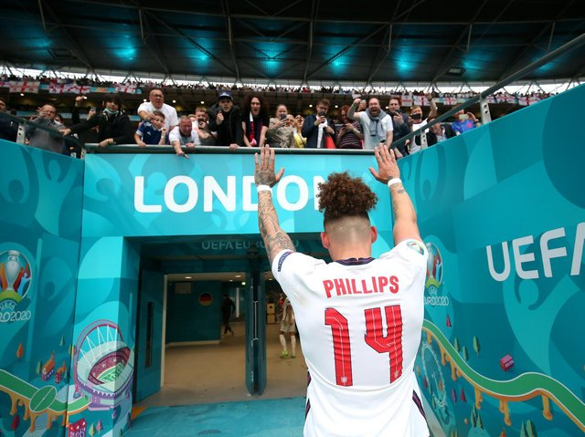 Leeds United midfielder Kalvin Phillips at Wembley after England's win over Germany. Pic: Getty