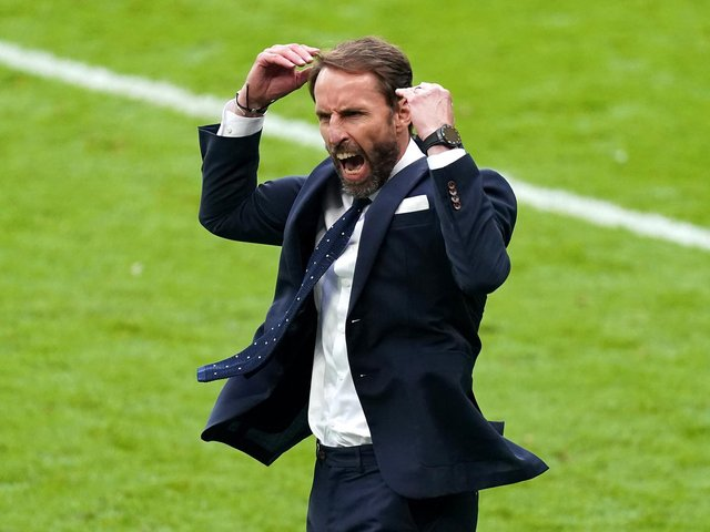England manager Gareth Southgate celebrates victory after the final whistle during the UEFA Euro 2020 round of 16 match at Wembley Stadium, London. Picture date: Tuesday June 29, 2021 (photo: PA).