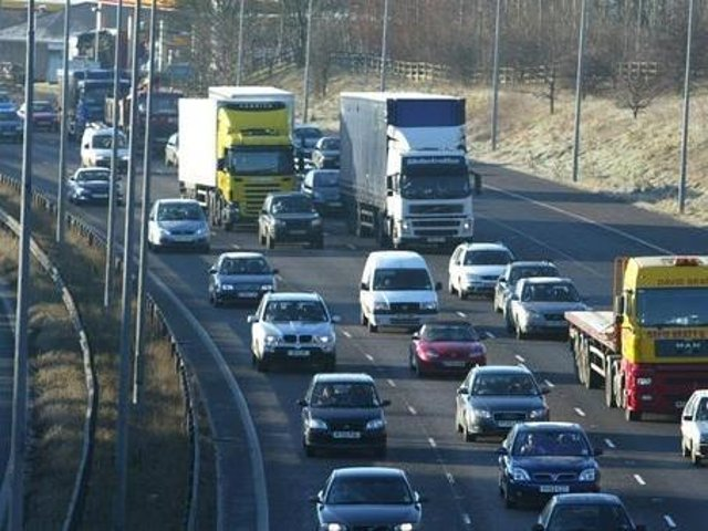 wo lanes have been closed due to a defect in the bridge joint on the M62 eastbound at J30 to J31. Stock image of M62.