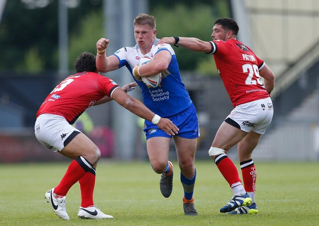 Leeds Rhinos' Tom Holroyd in action against Salford. Picture: Ed Sykes/SWpix.com.