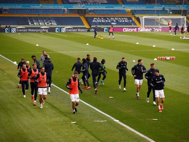 Leeds United's senior squad warm-up at Elland Road. Pic: Getty
