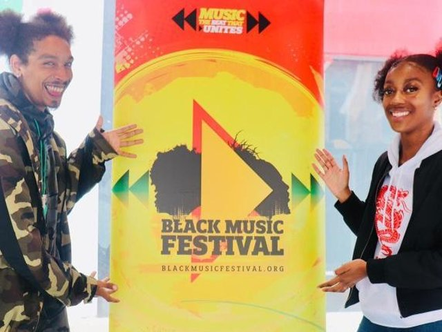 Henry Hutz, aka Mr O'Hennasy and Alicia Stanley-Lawrence performed at the Black Music Festival event on Briggate.