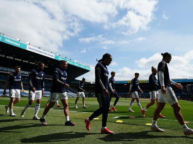 Leeds United warm-up at Elland Road. Pic: Getty