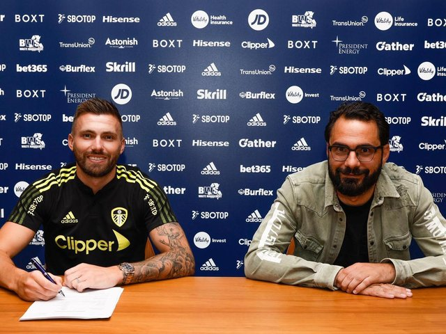 Leeds United utility man Stuart Dallas with sporting director Victor Orta. Pic: LUFC