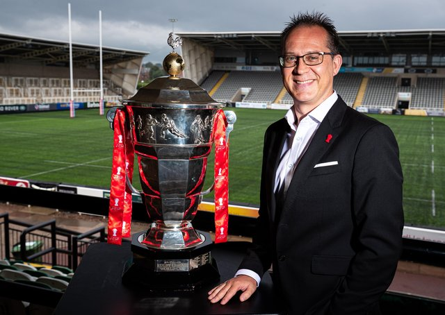 Jon Dutton (Chief Executive RLWC2021) pictured with the Rugby League World Cup Trophy at Kingston Park in Newcastle (Picture: Alex Whitehead/SWpix.com)