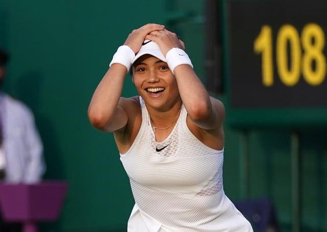 Emma Raducanu celebrates victory against Marketa Vondrousova. Pictures: PA.