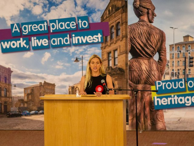 Kim Leadbeater gives her acceptance speech after winning the Batley and Spen by-election