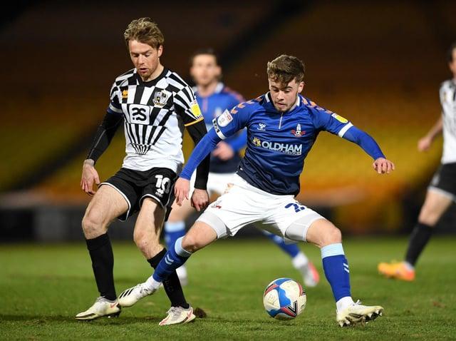Leeds United midfielder Alfie McCalmont in action for Oldham Athletic last season. Pic: Getty