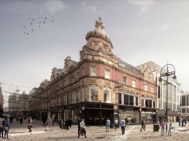 Plans submitted for the iconic Briggate landmark by Orchard Street Investment Management, and will include the redevelopment of the existing building while also adding a rooftop extension.
