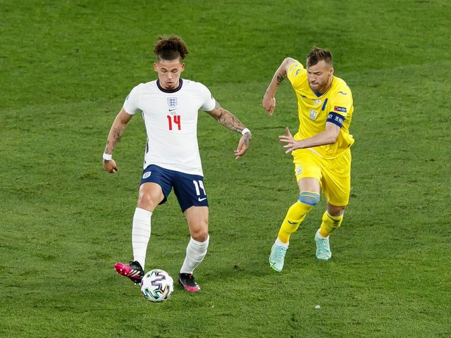 Leeds United's Kalvin Phillips in action for England against Ukraine. Pic: Getty