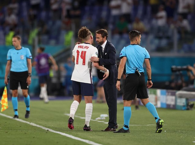 JOB DONE - Leeds United midfielder Kalvin Phillips and Gareth Southgate's England are into the Euro 2020 semi-finals. Pic: Getty