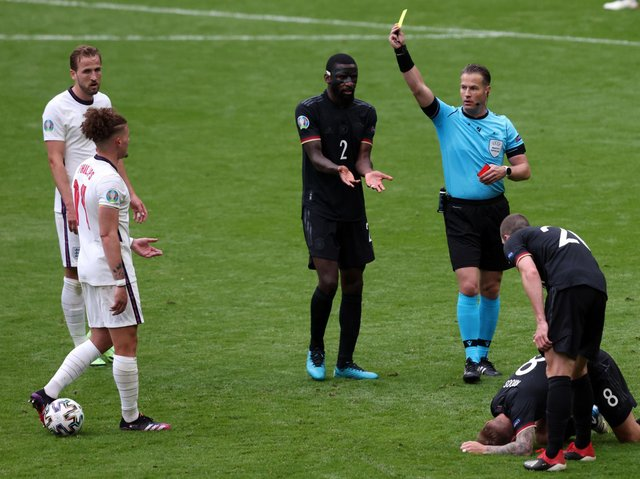 Leeds United's Kalvin Phillips was booked for England against Germany. Pic: Getty