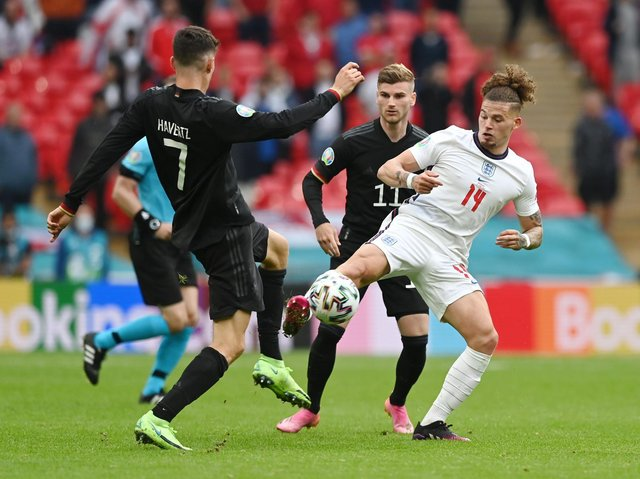 Leeds United's Kalvin Phillips in action for England against Germany. Pic: Getty