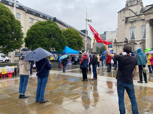 Protesters gathered in Millennium Square, Leeds city centre.