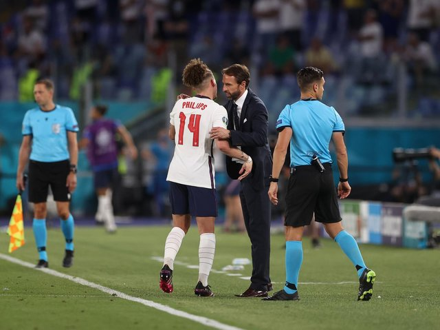 Leeds United's Kalvin Phillips is greeted by England manager Gareth Southgate. Pic: Getty