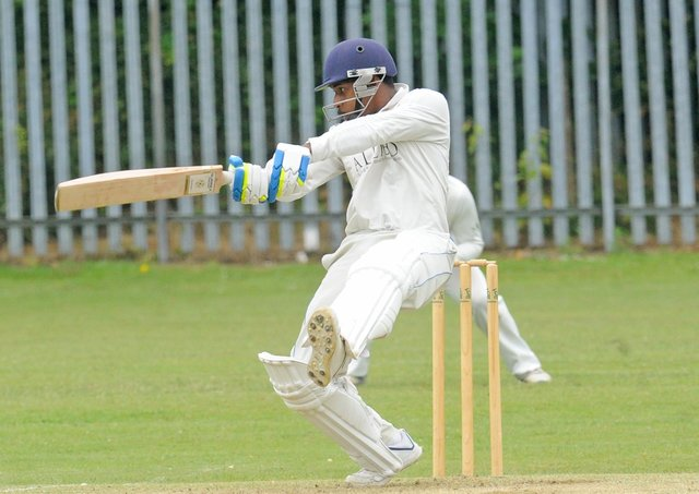Townville opener Athelbert Brathwaite who scored 75 in his side's Bradford League victory over Cleckheaton. Picture: Steve Riding.