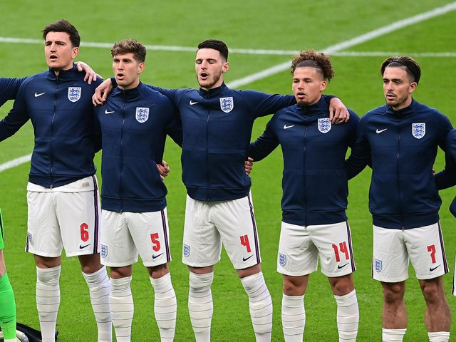 England line-up at Wembley during the Euros. Pic: Getty
