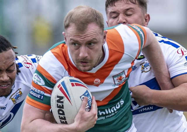 Matty Chrimes scored a try hat-trick for Hunslet but still ended up on the losing side against Coventry Bears. Picture: Tony Johnson/JPIMedia.