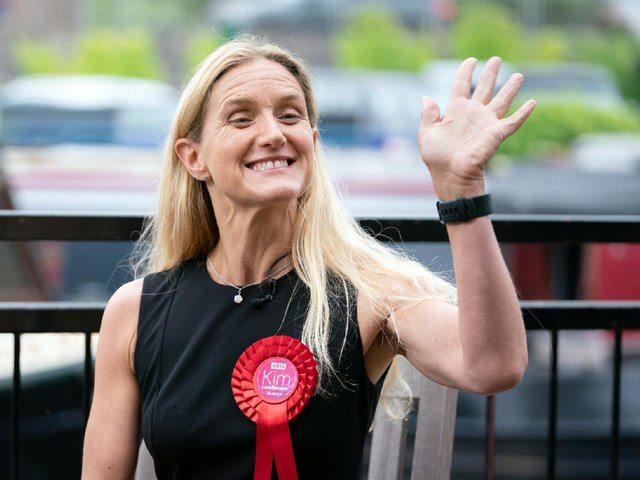 Labour candidate Kim Leadbeater celebrates by a canal in Huddersfield after winning the Batley and Spen by-election. (Danny Lawson/PA)