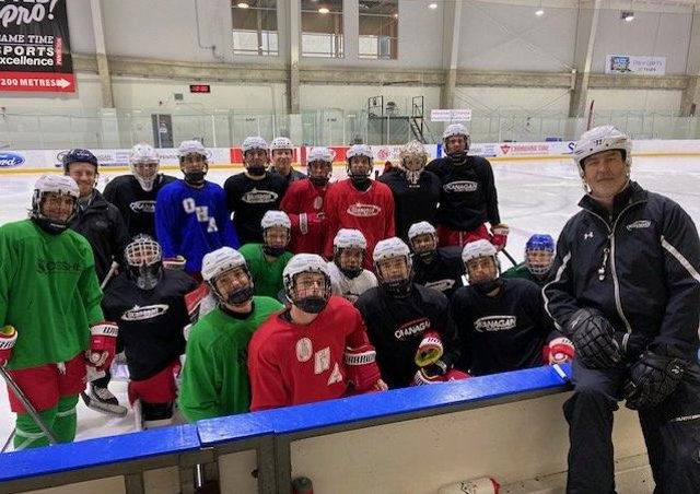 FUTURE PLANS: Dave Whistle, far right, pictured with youngsters at the Okanagan Hockey Academy in Penticton, British Columbia. Picture courtesy of OHA.