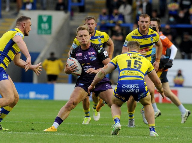 Brad Dwyer in action for Rhinos against Warrington. Picture by Simon Hulme.