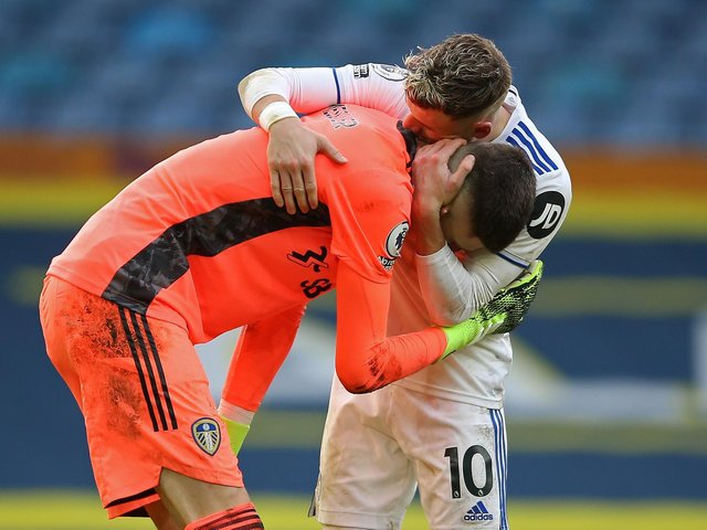 FAREWELL: From Illan Meslier, left, to Gjanni Alioski, right, in one of the many tributes to the outgoing North Macedonian international from the Leeds United dressing room. Photo by NIGEL FRENCH/POOL/AFP via Getty Images.