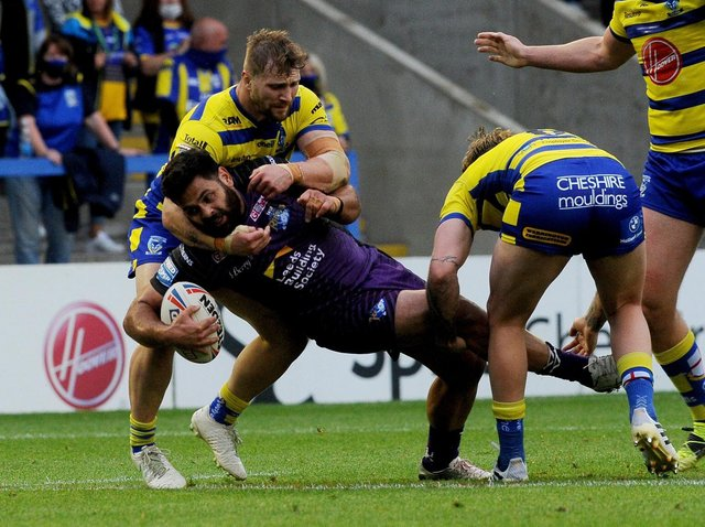 Rhyse Martin was outstanding in Rhinos' win at Warrington. Picture by Simon Hulme.