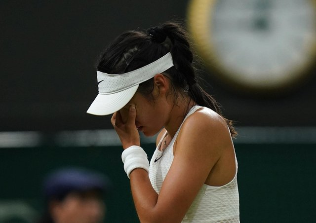 Emma Raducanu appears dejected in the match against Ajla Tomljanovic. Picture: Adam Davy/PA