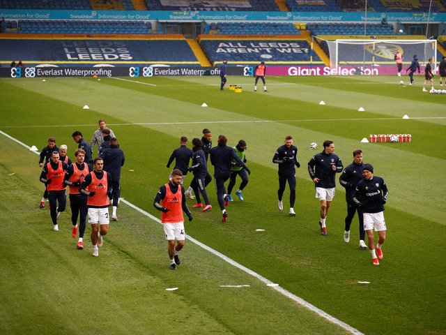 Leeds United's players warm up at Elland Road. Pic: Getty
