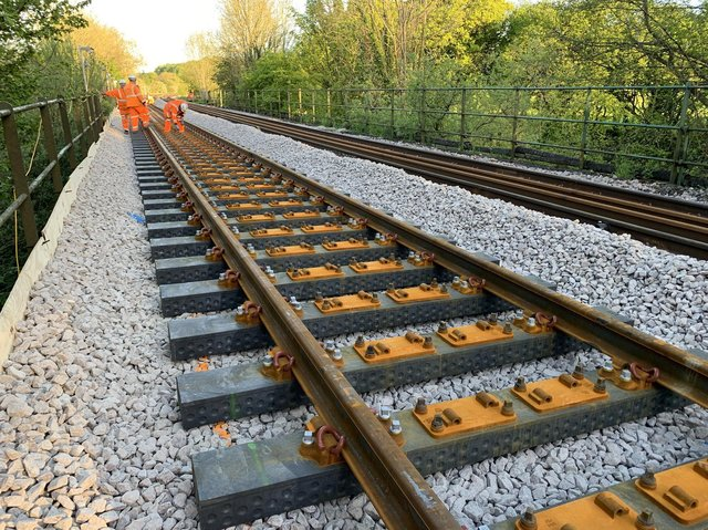 Library image of new sleepers being installed on Britain's mainline railway