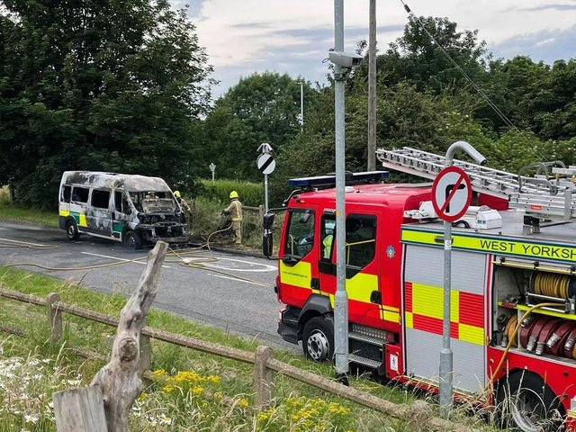 An ambulance was on fire in Calverley Lane in Farsley.