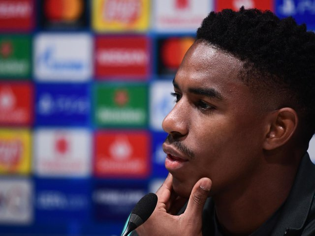 NEW ARRIVAL: Junior Firpo, pictured above in a Barcelona press conference back in December 2019, has joined Leeds on a four-year deal. Photo by MIGUEL MEDINA/AFP via Getty Images.