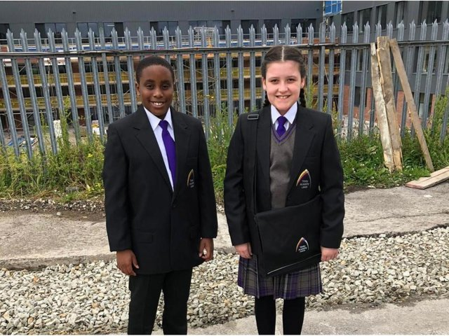 """Trinity Academy Leeds said they were aware of the """"financial hardships"""" caused by Covid in East Leeds. Two students on a recent visit."""
